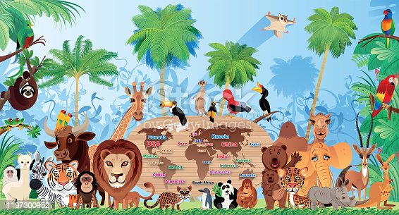 Vector Cute wild animals living in the forest