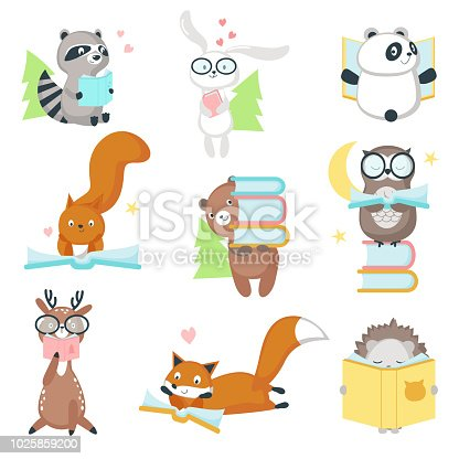 Cute wild animals with books icon set. Vector illustration of funny hedgehog fox bear squirrel owl raccoon rabbit deer and panda reading books isolated on white background.