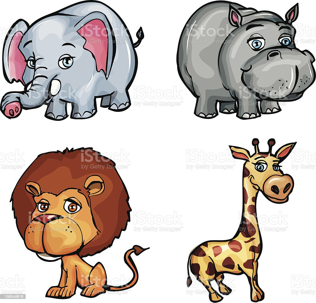 Cute wild animals royalty-free stock vector art