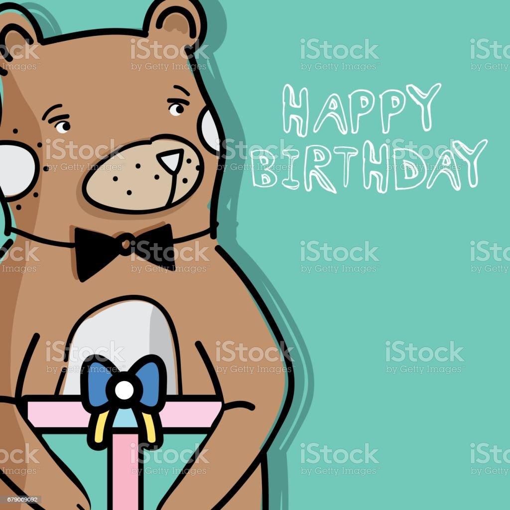 cute wild bear with a big gift stock vector art 679069092 istock