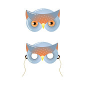 Cute wild grey owl mask, kid carnival party. Cartoon style. Vector illustration on white background