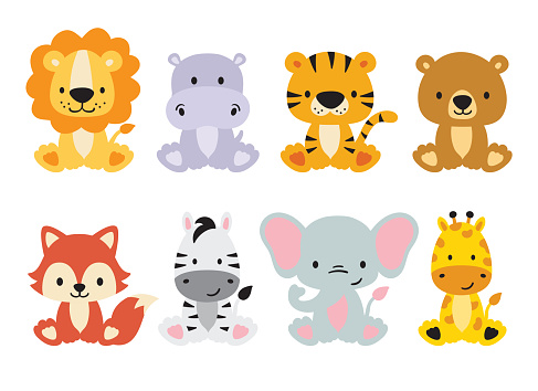 Cute Wild Safari Animals Vector Illustration