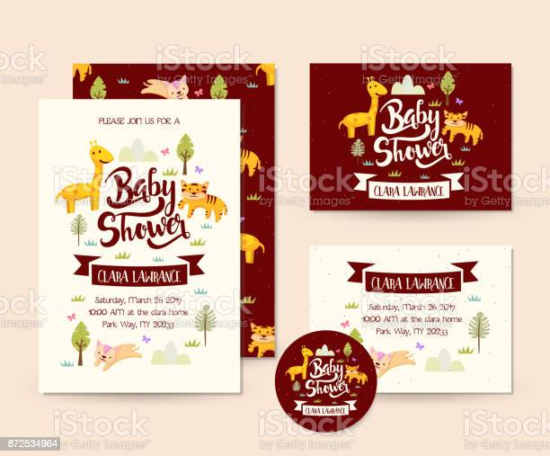 Cute wildlife adventure animal theme baby shower invitation card vector id872534964?b=1&k=6&m=872534964&s=612x612&h=oxwtx3dmvvkqaz5as4iwsdcytrbebx e5 exzr2ek9q=