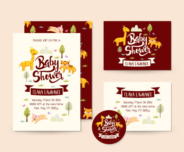 ilustraciones, imágenes clip art, dibujos animados e iconos de stock de vida silvestre lindo aventura tema animal bebé ducha invitación tarjeta plantilla de ilustración - baby shower