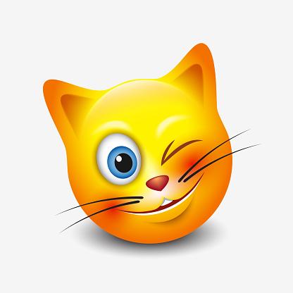 Cute Winking Cat Emoticon Emoji Smileyvector Illustratie Stockvectorkunst  en meer beelden van Bal - iStock