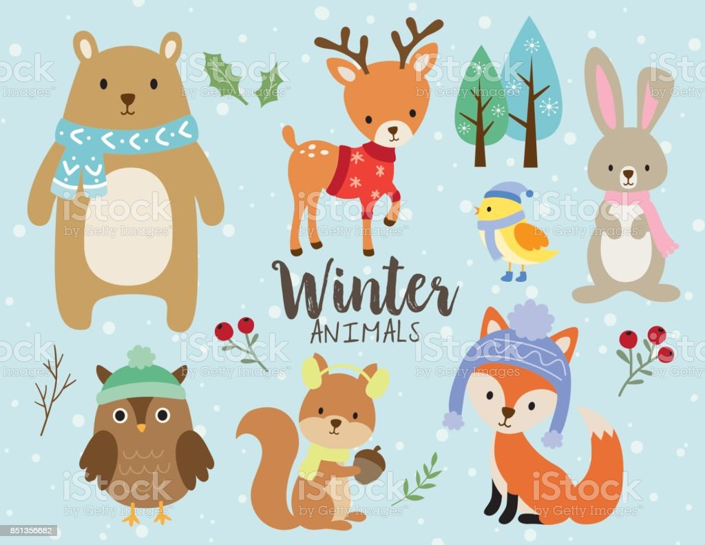 Cute Winter Animals with Snow Background royalty-free cute winter animals with snow background stock illustration - download image now
