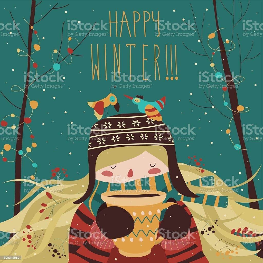 Cute winter cartoon girl with coffee - ilustração de arte em vetor