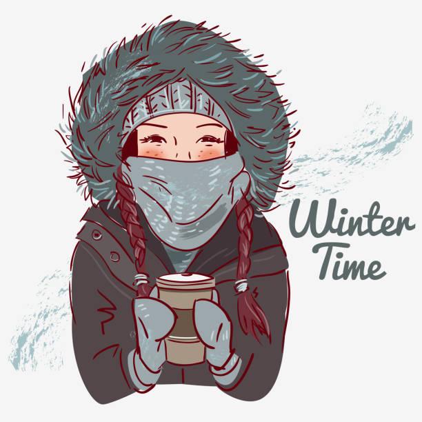 niedliche winter mädchen mit kaffeetasse - parkas stock-grafiken, -clipart, -cartoons und -symbole