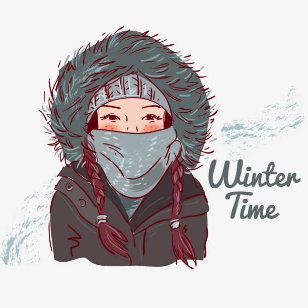 niedliche winter mädchen mit schal und mütze - parkas stock-grafiken, -clipart, -cartoons und -symbole