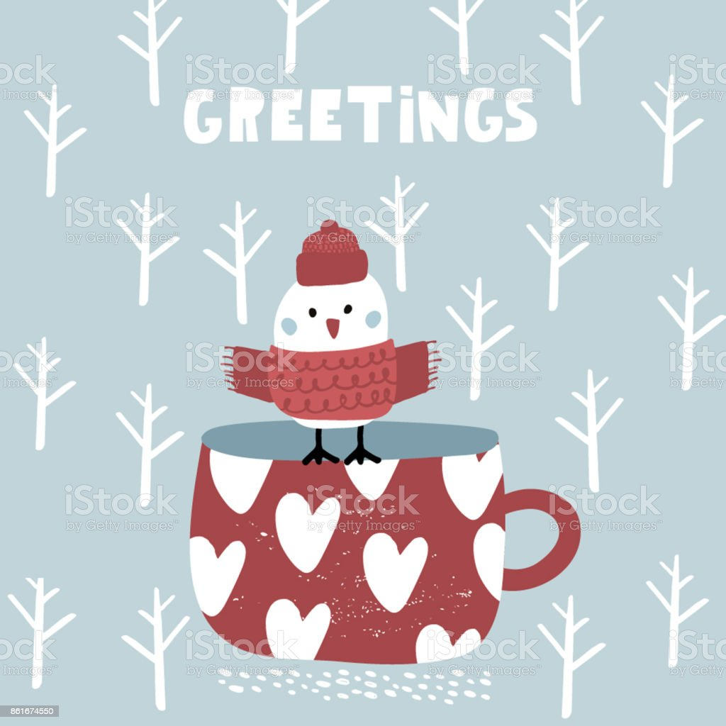 Cute winter greeting background with bird on mug holiday and cute winter greeting background with bird on mug holiday and christmas illustration it can m4hsunfo
