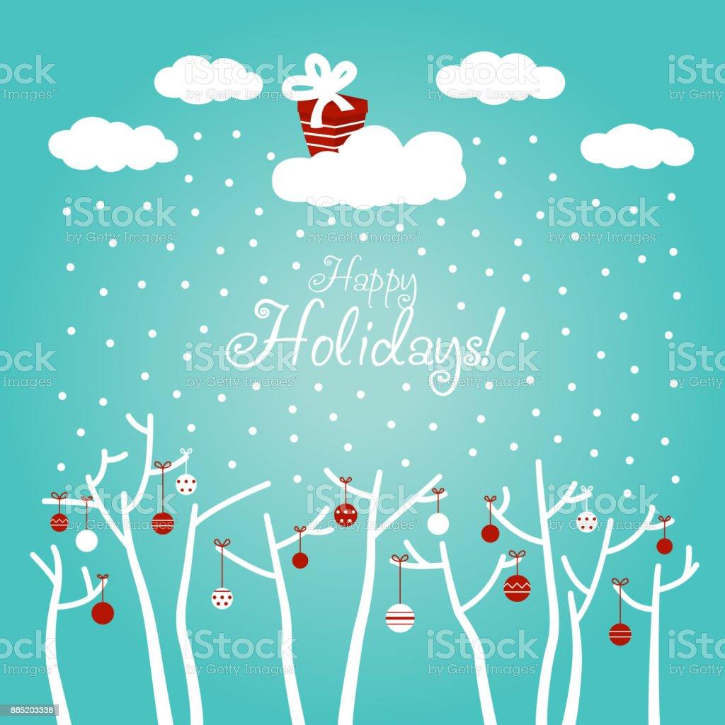 Niedliche Winter Urlaub Hintergrund Mit Blauer Himmel Schneeflocken ...
