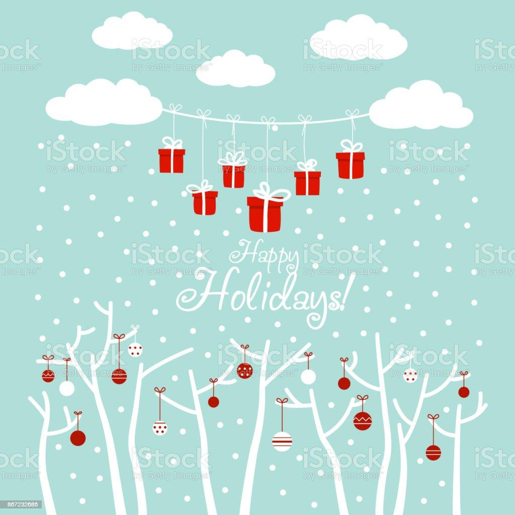青い空雪雲ギフト休日のおもちゃを飾る木とかわいい冬休日背景