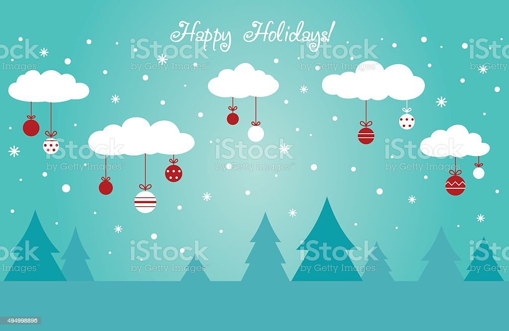 Cute winter holiday background with clouds decorating with holiday toys vector art illustration