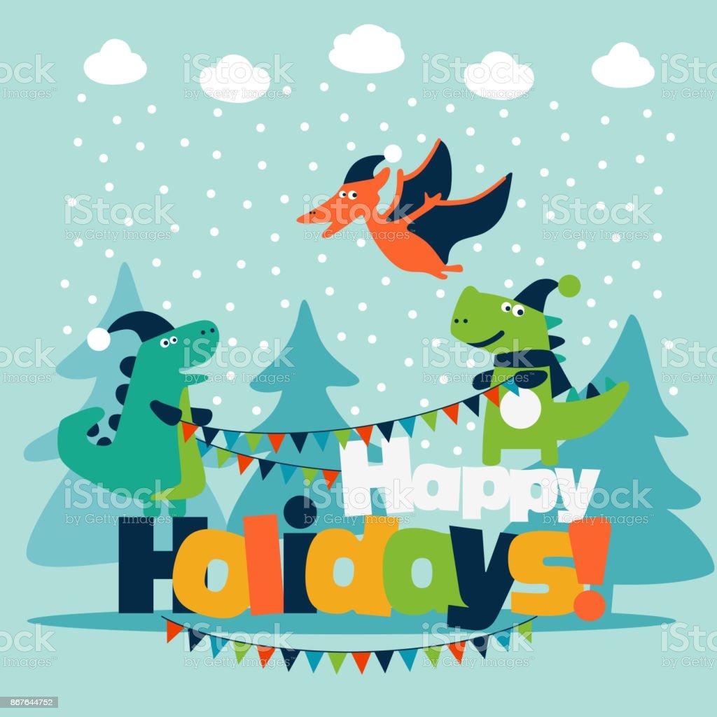 面白い恐竜とかわいい冬休日イラストクリスマスと新しい年のベクトル