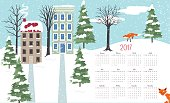 Cute Winter Houses 2017 Calendar Vector. Legal size horizontal design.