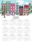 Cute Winter Houses 2017 Calendar Vector. Letter size vertical design.