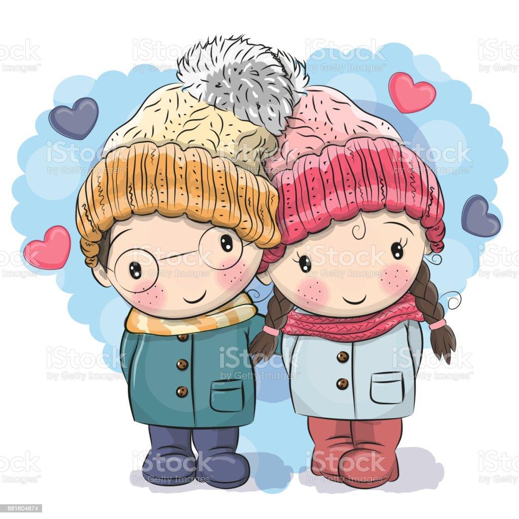 かわいい冬のイラストかわいい男の子と女の子 2人のベクターアート素材