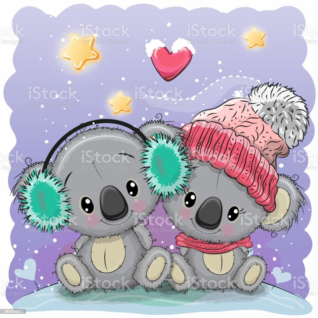 Cute winter illustration with two koalas vector art illustration
