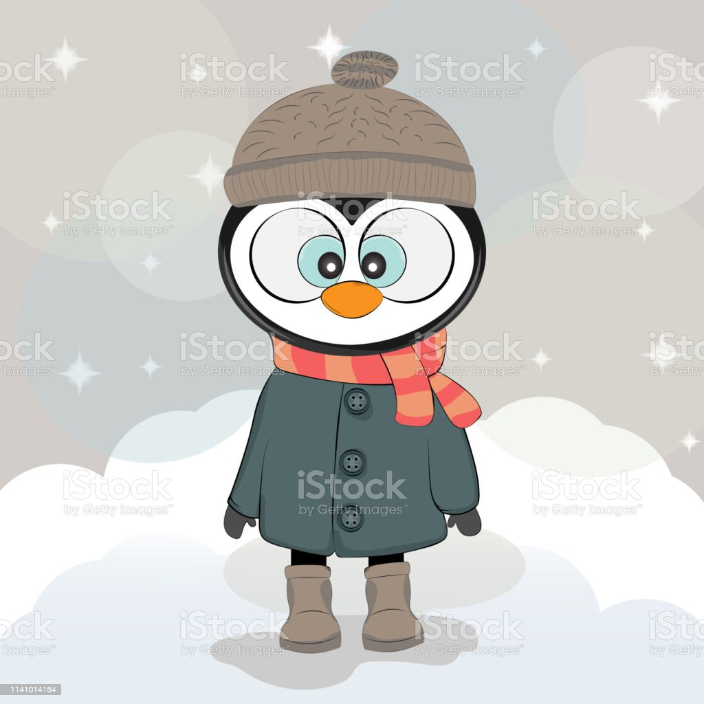 e25edf3810e382 Cute winter penguin in a coat with hat and scarf. royalty-free cute winter