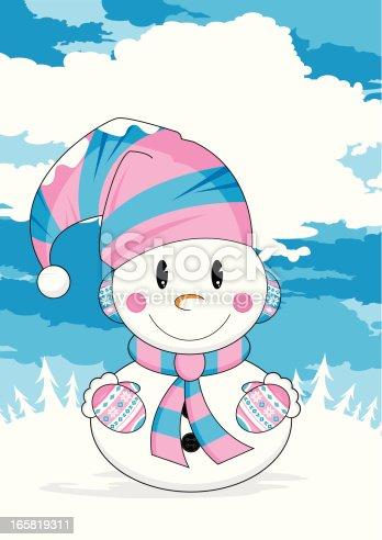 istock Cute Winter Scene Christmas Snowman 165819311