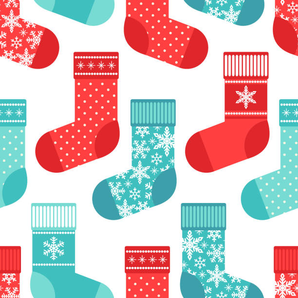 Cute winter seamless pattern with socks in traditional colors Cute seamless pattern with winter accessoires as socks in traditional colors for your decoration christmas stocking stock illustrations
