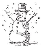 Hand-drawn vector drawing of a Cute Winter Snowman. Black-and-White sketch on a transparent background (.eps-file). Included files are EPS (v10) and Hi-Res JPG.