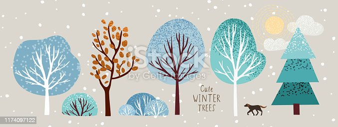cute winter trees, vector isolated illustration of trees, leaves, fir trees, shrubs, sun, snow and clouds, New Year and Christmas objects and elements of nature to create a landscape