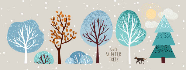cute winter trees, vector isolated illustration of trees, leaves, fir trees, shrubs, sun, snow and clouds, New Year and Christmas objects and elements of nature to create a landscape vector art illustration