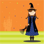 Cute Witch Character and Haunted Castle