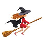 Cute witch flying on broom vector illustration isolated