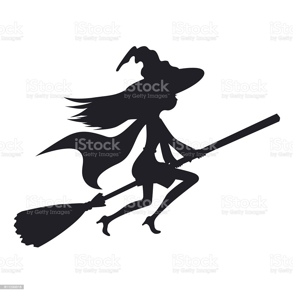 cute witch flying on broom vector illustration silhouette stock
