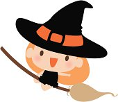 Vector illustration – Cute Witch Flying on her Broom.
