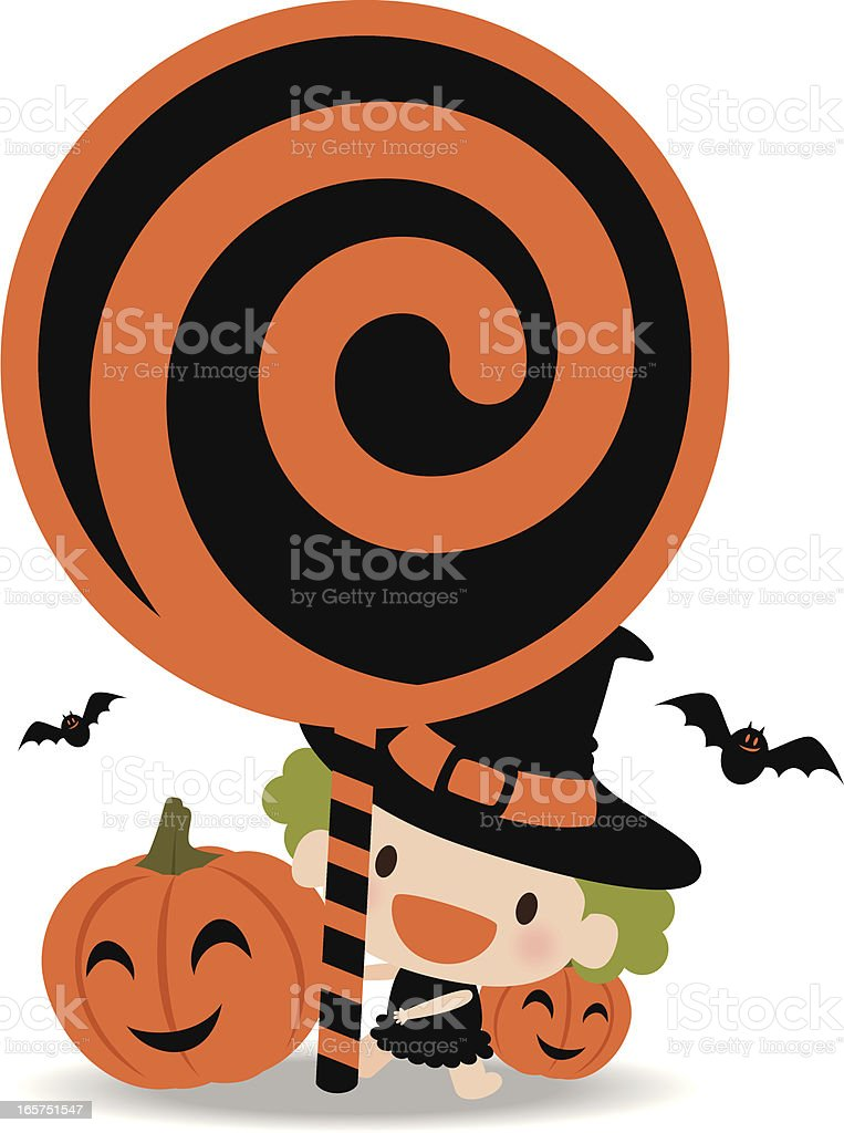 Cute Witch Holding Lollipop Sign with bat and Pumpkin royalty-free stock vector art