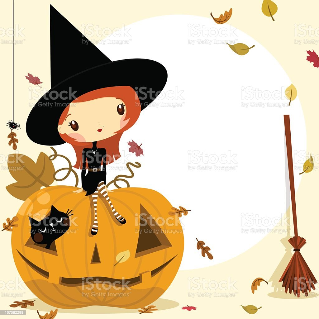 Cute witch in Halloween fall invitation royalty-free stock vector art