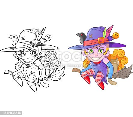 istock cute witch on broomstick, coloring book, funny illustration 1312833810