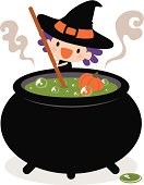 Vector illustration – Cute Witch Stirring Her Cauldron.