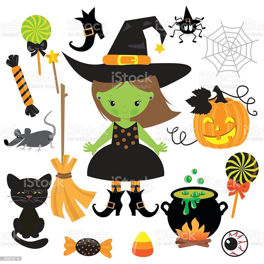 cute witch vector illustration stock vector art 585616716 istock