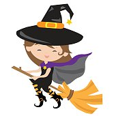 Cute witch vector illustration
