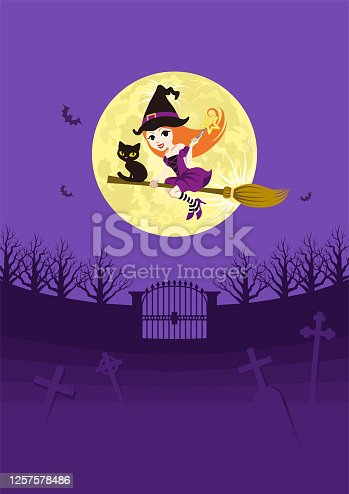 istock Cute witch with black cat flying by broom in spooky graveyard at full moon night - vertical, copy space 1257578486