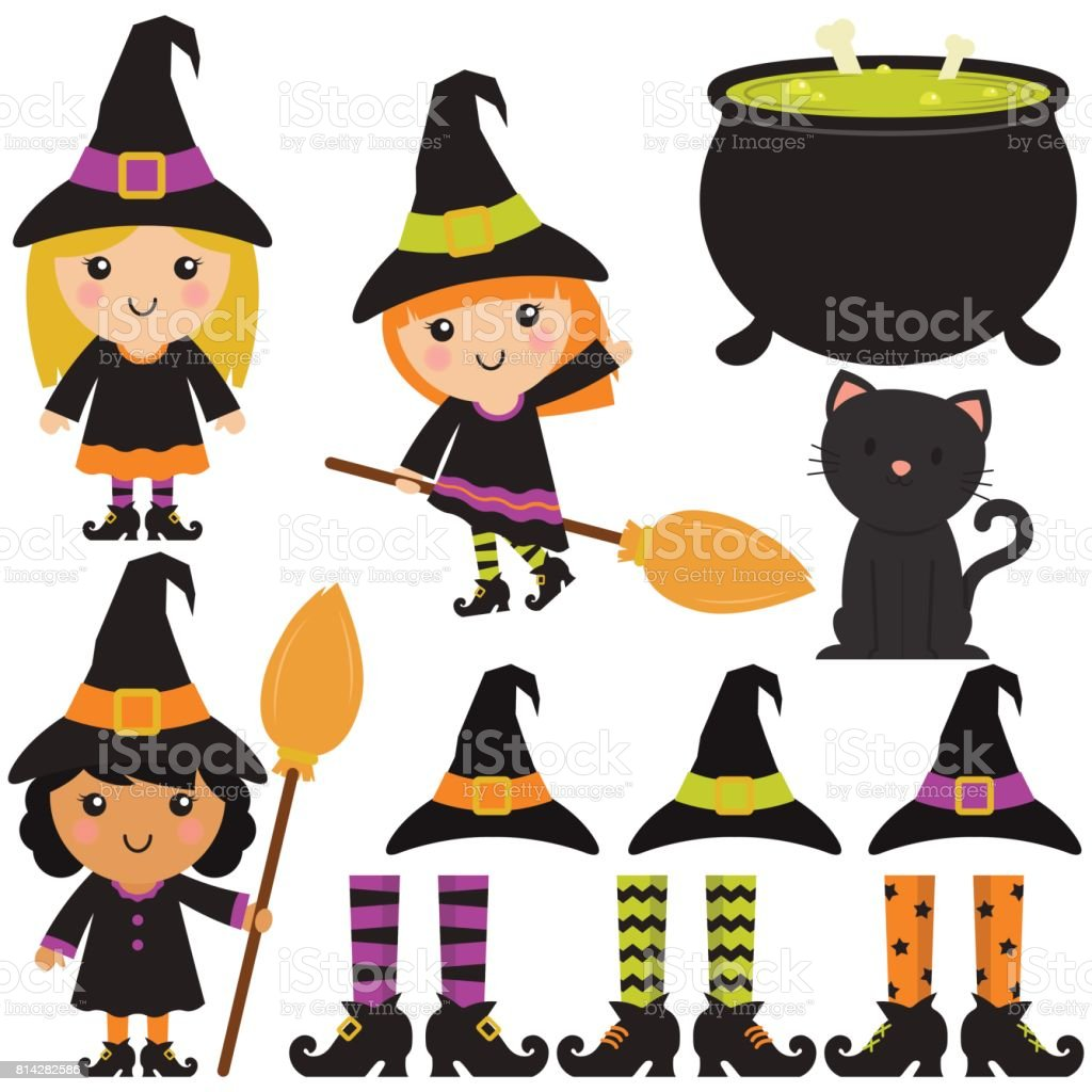 Cute Witches / Cauldron / Broomsticks In White Background vector art illustration