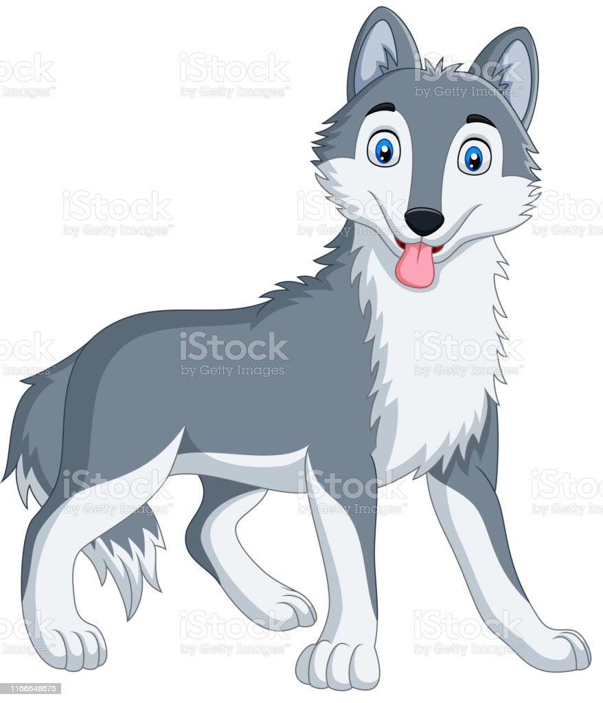Cute Wolf Cartoon On White Background Stock Illustration Download Image Now Istock