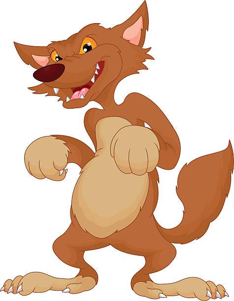 süße wolf comic - hundehaarbögen stock-grafiken, -clipart, -cartoons und -symbole