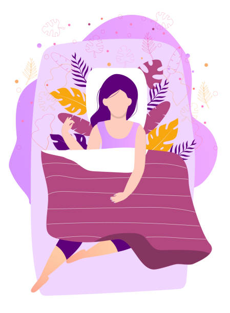 bildbanksillustrationer, clip art samt tecknat material och ikoner med söt kvinna sover på natten i sängen under filt. sweet dreams concept med blommig, löv bakgrund vektor illustration - cosy pillows mother child