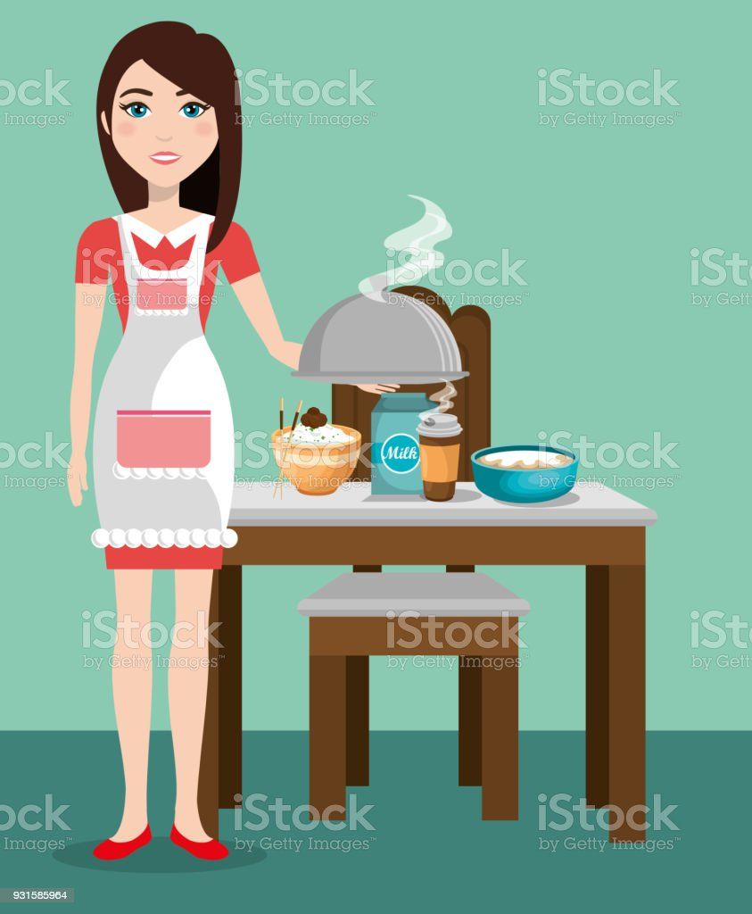 Cute Woman Cooking In The Kitchen Royalty Free Stock