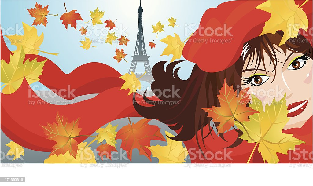 Cute woman face with red scarf and beret royalty-free stock vector art