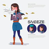 cute woman going to sneeze beacause weather. set of character. illness concept. typographic for header design. infographic - vector illustration