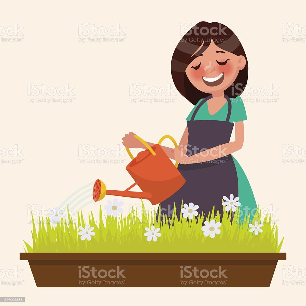 Cute woman is watering the flowers. Vector illustration royalty-free cute woman is watering the flowers vector illustration stock vector art & more images of adult