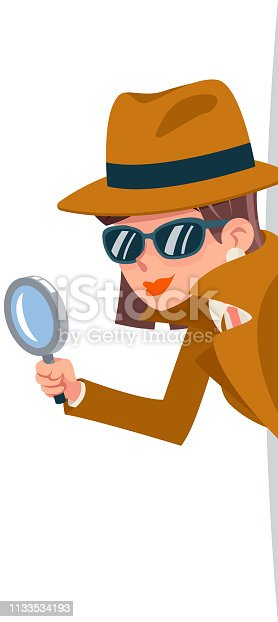 Cute woman snoop detective magnifying glass tec peeking out corner search help noir female character cartoon design isolated vector illustration
