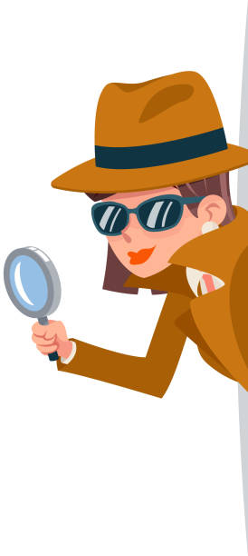Cute woman snoop detective magnifying glass tec peeking out corner search help noir female cartoon character design isolated vector illustration Cute woman snoop detective magnifying glass tec peeking out corner search help noir female character cartoon design isolated vector illustration detective stock illustrations