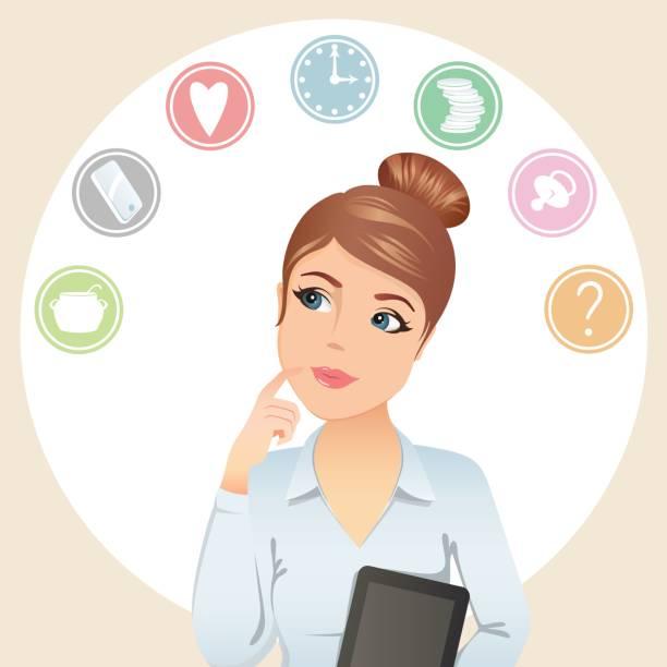illustrations, cliparts, dessins animés et icônes de femme mignonne tente d'organiser son temps de travail - femmes actives
